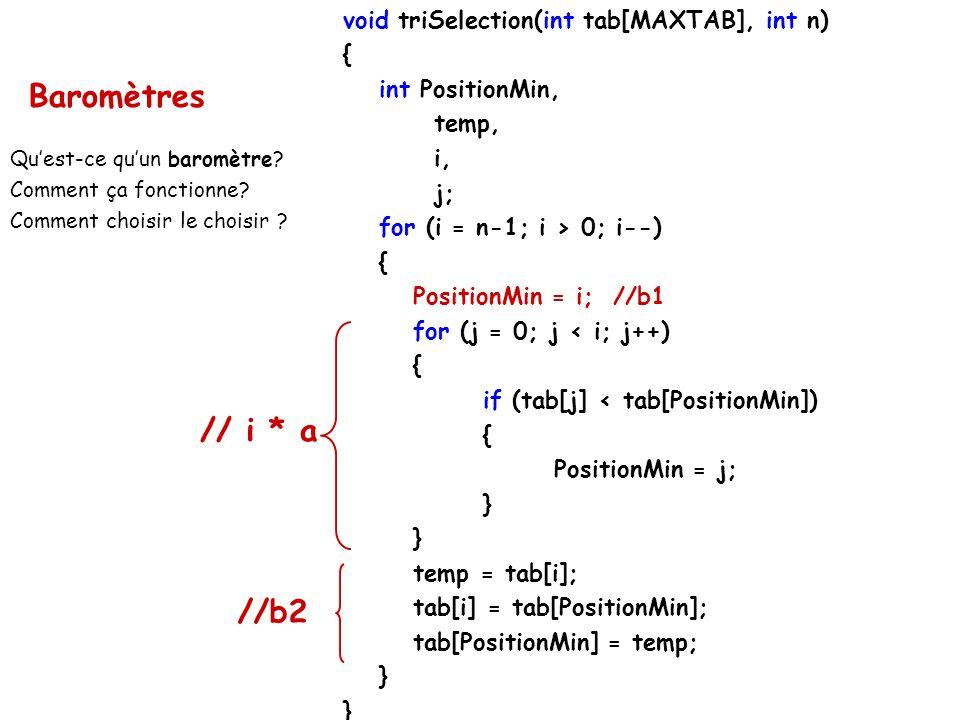 Baromètres // i * a //b2 void triSelection(int tab[MAXTAB], int n) {